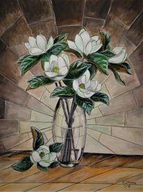 Kamelien, Weiß, Blumen, Malerei
