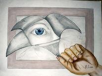 Hand, Sehen, Augen, Bleistiftzeichnung