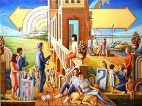 Insel, Menschen, Buch, Ölmalerei