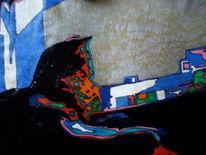 Blau, Ölmalerei, Katze, Ausblick