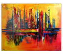 Gemälde, Abendzauber, Wandbild, Rot gelb blau