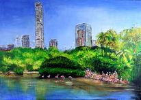 Park, Acrylmalerei, Malerei, Flamingo