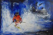 Gemälde, Skifahren, Malerei, Modern