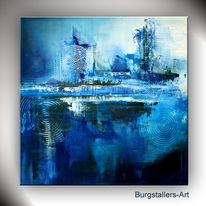 Acrylmalerei, Blau, Tief, Abstrakt