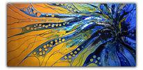 Acrylmalerei, Malerei, Dynamik, Blau