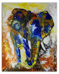 Abstrakt, Gelb, Elefant, Liquid painting