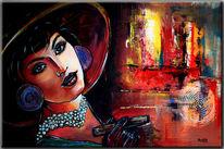 Abstrakt, Moderne kunst, Retro portrait, Acrylmalerei