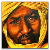 Acrylmalerei, Gesicht, Afrika, Paining