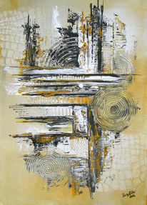 Abstrakte malerei, Acrylmalerei abstrakt, Peinture abstract, Gold
