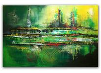 Handgemalte, Abstrakt, Acrylmalerei, Malerei
