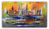 Acrylmalerei, Ulm gemalt, Rot, Stadt bild