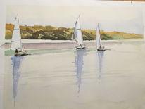 Aquarellmalerei, Maritim, See, Segelschiff