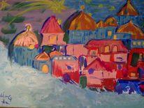 Landschaft, Malerei, Dorf, Weihnachten