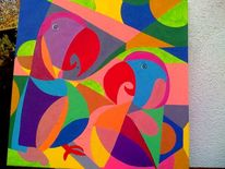 Vogel, Malerei, Tiere, Pink