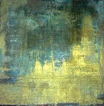 Acrylmalerei, Gold, Blau, Patina