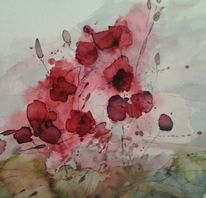 Aquarellmalerei, Abstrakt, Rot blume, Aquarell