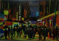 Pastellmalerei, Stadt, Neon, Menschen