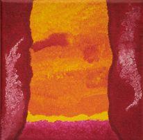 Gelb, Fantasie, Abstrakt rot, Acrylfarben