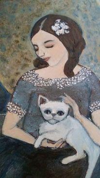 Tiere, Katze, Vollmond, Frau