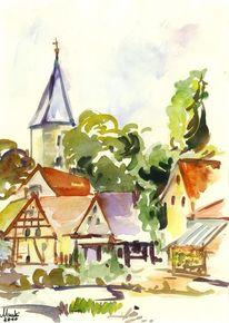 Kirche, Baum, Gebäude, Häuser