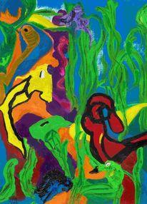 Spiel, Farben, Pflanzen, Wasser