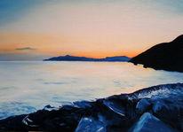 Meer, Himmel, Sonnenuntergang, Malerei
