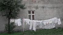 Haus, Wäsche, Pol, Hinterhof