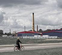 Industriegebiet, Fahrrad, Pol, Himmel