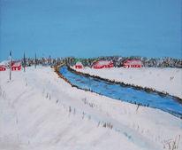 Winter, Landschaft, Acrylmalerei, Malerei