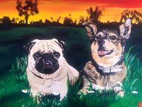 Augen, Hundezeichnung, Acrylmalerei, Portraitzeichnung