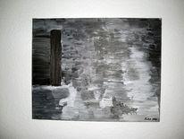 Acrylmalerei, Schwarz weiß, Stumm, Abstrakt