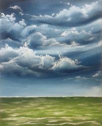 Himmel, Meerblick, Wolken, Malerei