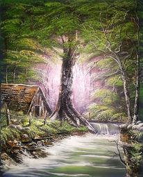 Hütte, Wasser, Fluss, Wald