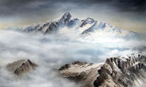 Berge, Wolken, Großglockner, Nebel