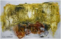 Sumpfkalk, Acrylmalerei, Beize, Kohlezeichnung