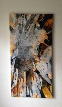 Strukturen in acryl, Schwarz, Acrylmalerei, Marmormehl
