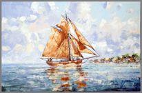 Spachteltechnik, Segelschiff, Malerei, Fischerboot
