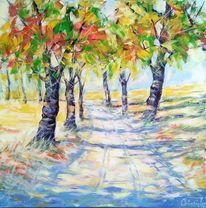 Sonne, Weg, Herbst, Malerei