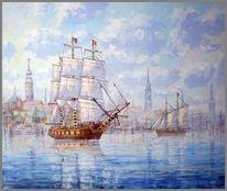 Hamburg, Hafen, Segelschiff, Malerei