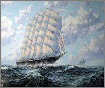 Teil gespachtelt, Segelschiff, Malerei