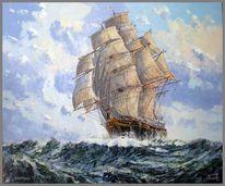 Spachteltechnik, Segelschiff, Malerei