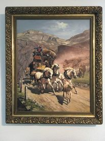 Pferde, Natur, Reiter, Malerei