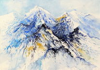 Berge, Blau, Wind, Winter