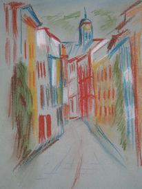 Mantelgasse, Heidelberg, Pastellmalerei, Malerei