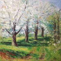 Baumblüte, Malerei, Ölmalerei, Gegenständlich