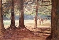 Baum, Reh, Ölmalerei, Sonne