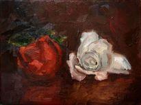 Ölmalerei, Blumen, Rose, Impressionismus
