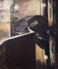 Ölmalerei, Stadtlandschaft, Dunkel, Impressionismus