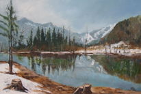 Frühling, Berge, Gemälde, Almsee
