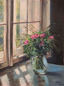 Morgen, Blumen, Stillleben, Fenster